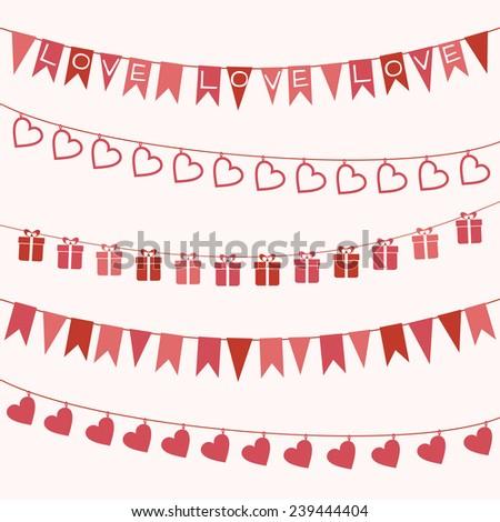 Set of garlands for Valentine's Day or wedding design - stock vector
