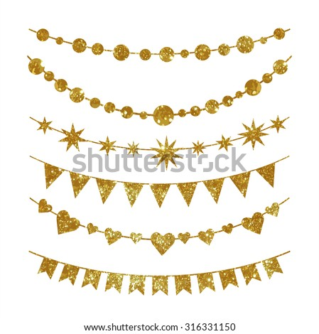 Set of garlands made of gold glitter texture. Each element grouped separately for convenient use.