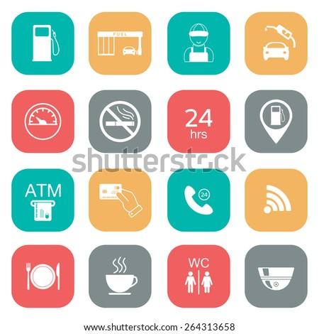 Set of gas station icons. Fuel glyph icons. Flat color. Vector illustration - stock vector