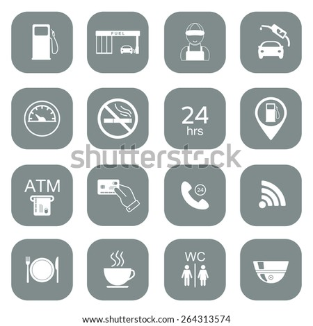 Set of gas station icons. Fuel glyph icons. Vector illustration - stock vector