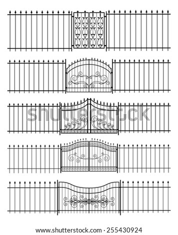 Set of gates and iron fence horizontal seamless. Protection and  border, guard. Vector illustration