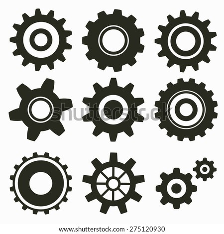Set of gear icon on white - stock vector