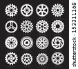 Set of gear icons on black background. Vector illustration - stock vector