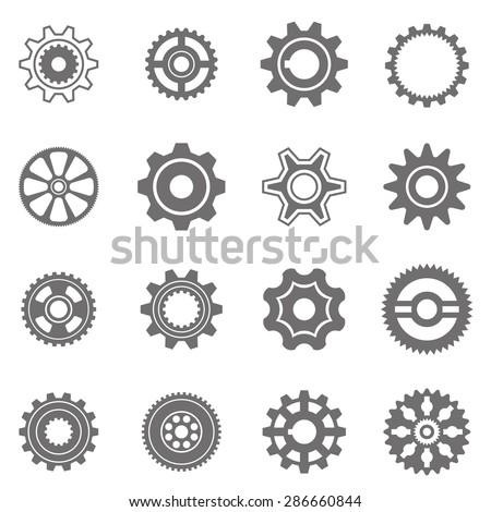Set of gear wheels in black and white. By changing size, gears can be combined into mechanism. - stock vector