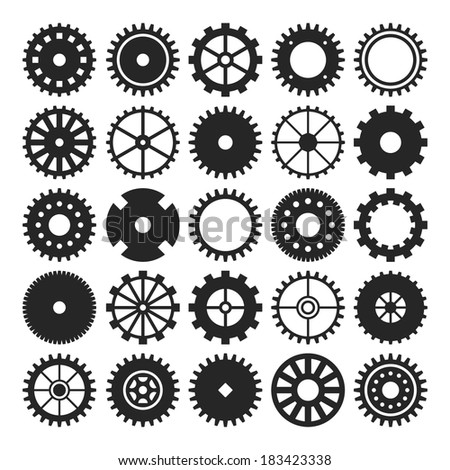 Set of gear wheels isolated on white background - stock vector
