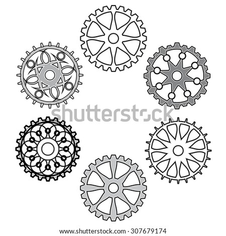 set of gears - stock vector