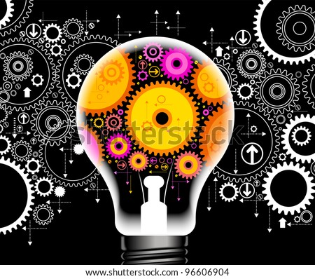 set of gears and electric light bulb File is saved in AI10 EPS version. This illustration contains a transparency - stock vector