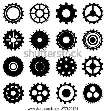 Set of gears. Gear wheel collection. Black and white, silhouette