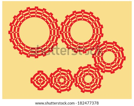Set of gears of different sizes - stock vector