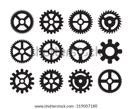 Set of gears. The objects are isolated on a transparent background