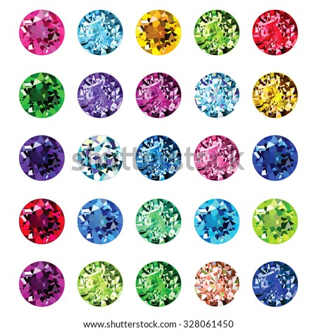 Set of gemstone icons. Bright round shape gems. - stock vector