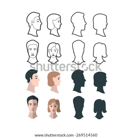 Set of gender portraits, four versions of man and woman, front and profile portraits.  - stock vector