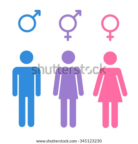 Set of gender symbols with stylized silhouettes: male, female and unisex or transgender. Isolated vector illustration. - stock vector