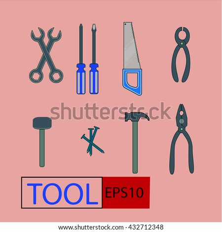 Set of general home use tools icon,hammer,saw,wrench,screwdriver,spanner,pliers,nail. - stock vector