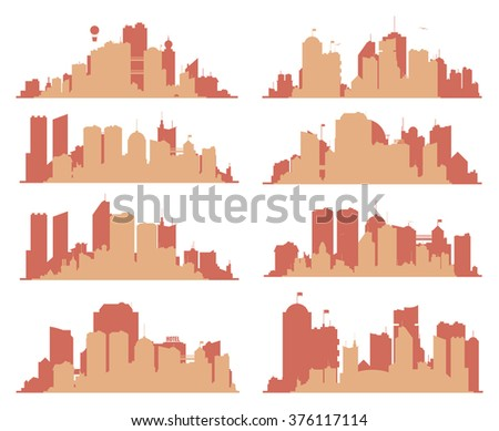 Set of generic big city skylines with building, towers and bridges