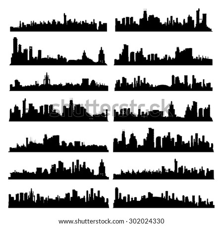 Set of generic black and white big city skylines - stock vector