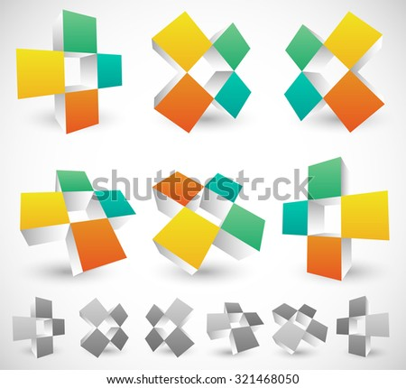 Set of generic design elements, abstract cubes. - stock vector
