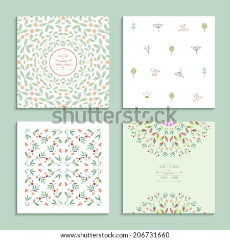 Set of gentle cards with floral elements. Vector - stock vector