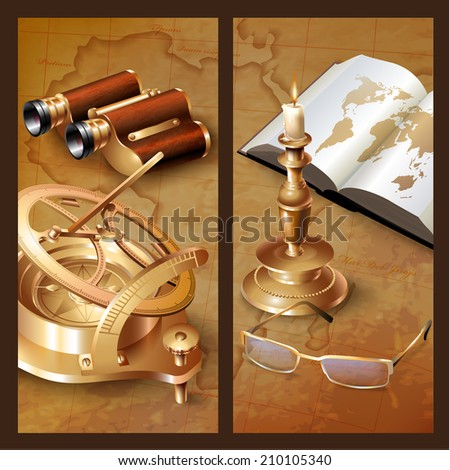 Set of geographical web banners for various use. More in my portfolio. - stock vector