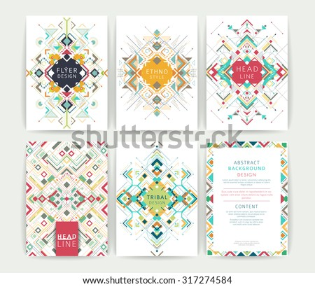 Set of geometric abstract colorful flyers / brochure templates / design elements / modern backgrounds / line art - stock vector