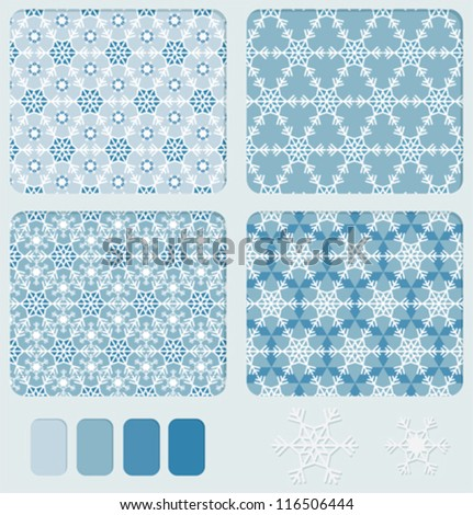 Set of geometric blue seamless ornament with the shape of snowflakes us based form. Color palette for patter included - stock vector