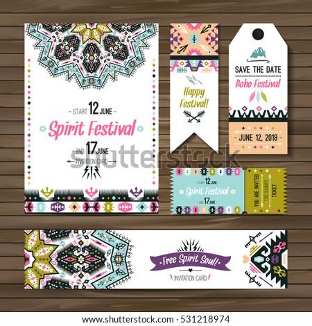 Set of geometric boho bright flyers. Vector decorative ethnic greeting card or invitation design background