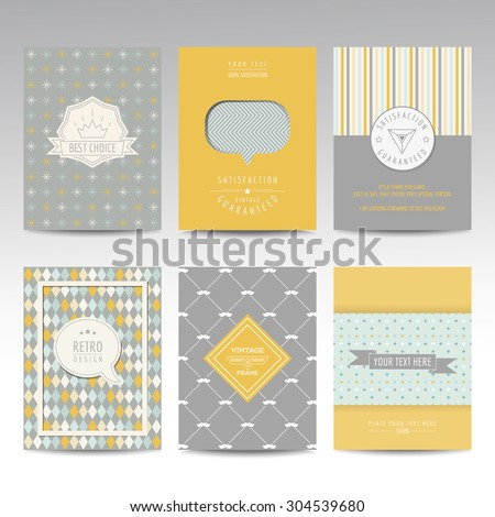 Set of Geometric Brochures and Cards - vintage layouts - in vector - stock vector