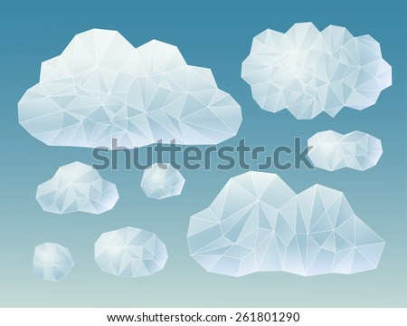 set of geometric clouds - stock vector