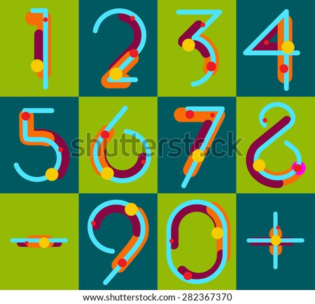 Set of geometric digits. vector - stock vector