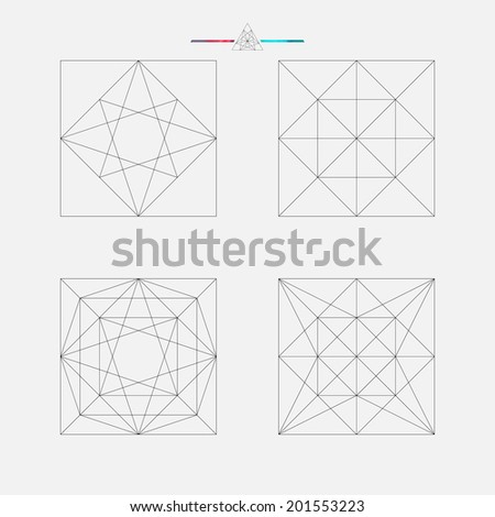 Set of geometric elements, line design, square pattern, vector illustration