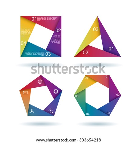 Set of geometric infographic shapes in bright colors - stock vector