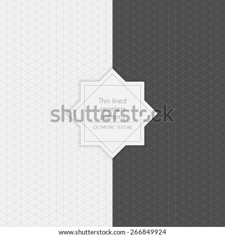 Set of geometric minimalistic thin lined seamless patterns in light and dark colors. Vector illustration. - stock vector