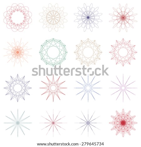 Set of geometric ornaments. Vector illustration