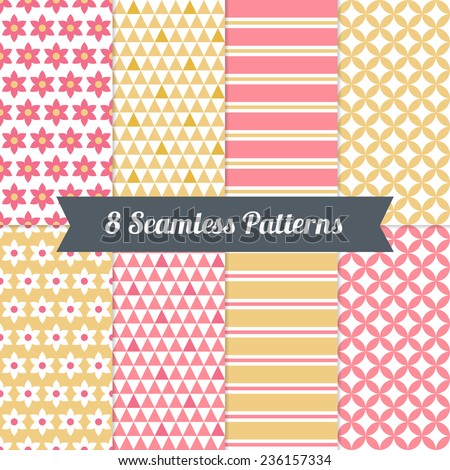 Set of Geometric Patterns with Stripes, Flowers, Triangles and Diamonds in Pink, Yellow and Beige. Perfect for wallpapers, textile, wrapping papers, Valentine, birthday and wedding cards  - stock vector
