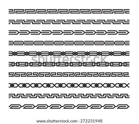 Set of geometric seamless patterns in oriental style - stock vector