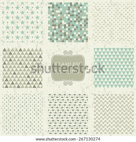 set of 8 geometric seamless patterns on shabby background - stock vector