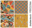 Set Of Geometric Seamless Patterns Retro Colored - stock vector