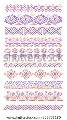 Set of geometric seamless patterns. Vector backgrounds collection, pattern swatches included. - stock vector