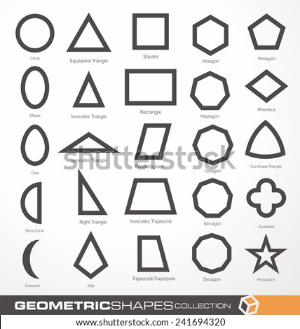 Set of geometric shapes. Basic geometry objects vector collection. Math info graphic with geometric elements. Education and science  theme. Design elements collection. - stock vector