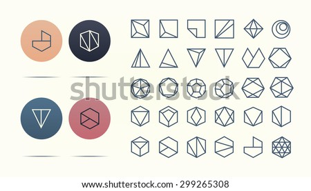 Set of geometric shapes. Hipster icon and logotypes. Retro colors. Vector illustration. EPS 10 - stock vector