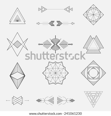 Set of geometric shapes, triangles, line design, vector - stock vector