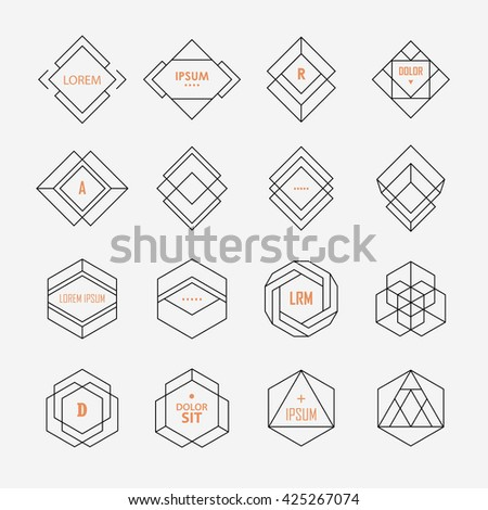 Set of geometric signs, logotypes and frames. Minimal hipster style. Line design elements. - stock vector