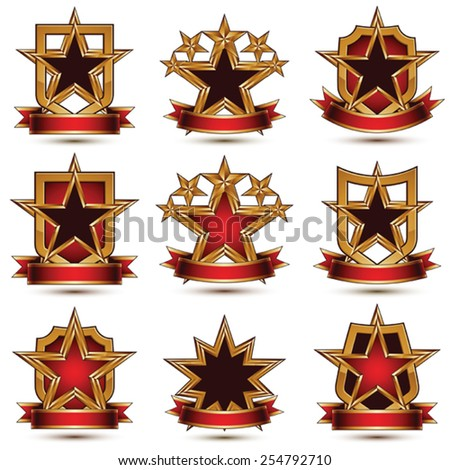 Set of geometric vector glamorous golden elements isolated on white backdrop, 3d polished stars, protection shields with red ribbon. Five stars branded symbols collection.