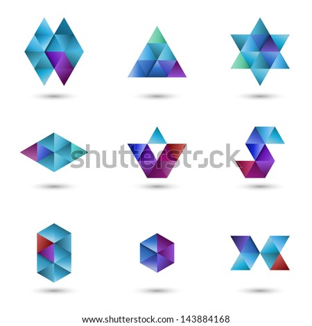 Set of geometrical design elements, vector illustration - stock vector