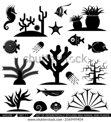 Set of geometrically stylized sea animal and plant icons. Vector illustration. Suitable for various purposes, can be incorporated in logo due to their geometrical style.   - stock vector