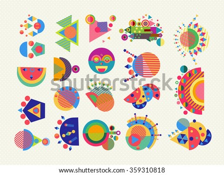 Set of geometry elements, abstract symbols and shapes in fun colorful style. EPS10 vector. - stock vector