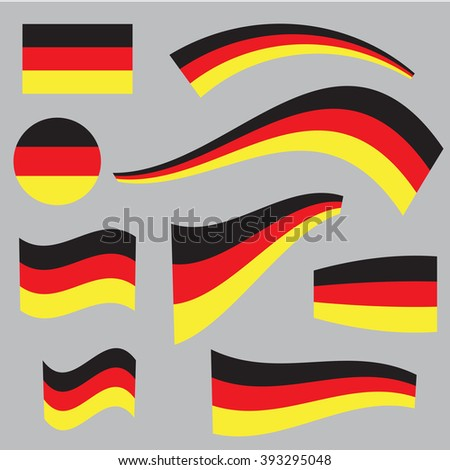 Set of Germany flags in different forms and shapes