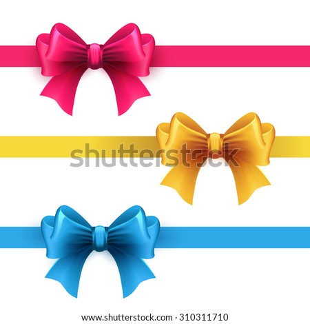 Set of gift bows with ribbons. Pink, gold and blue color. - stock vector