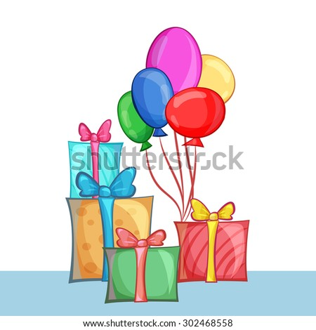 Set of gift boxes and balloons. Vector cartoon illustration - stock vector