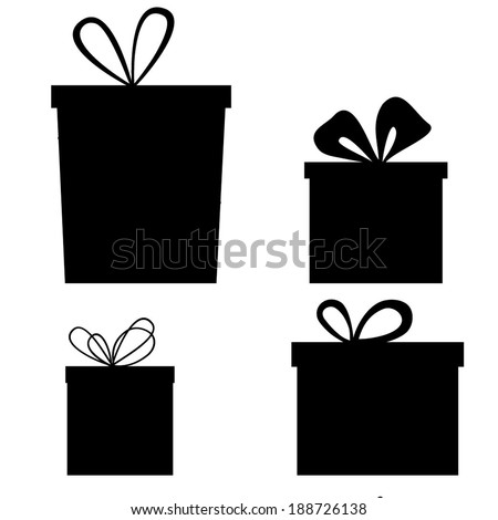 Set of gift boxes. Black and white vector  - stock vector